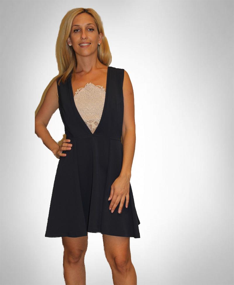 Atos Lombardini Deep V Neck Mini Dress Initiatives Plus Trading L L C